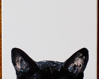 Black Cat Peeking Acrylic Painting 8x10 on stretched canvas - Unique and Adorable Kitten wall decor artwork - Pet Lover Gift