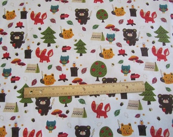 Off White Woodland Animals/Bear/Fox/Owl Camping Flannel Fabric by the Yard