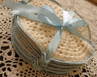 Cream crocheted coasters, set of 12