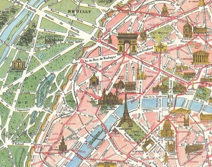 Très Vintage Paris Tourist Map Paris Monumental et NI21