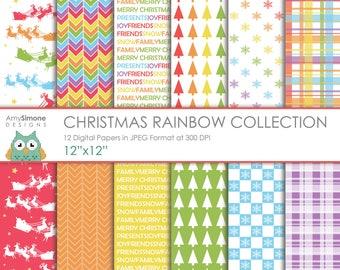"Christmas Rainbow 12""x12"" Digital Papers"