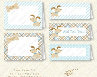 Blue Puppy Printable Food Label Buffet Card Kit party favor Birthday Baby Shower placecard plaid stripes dots instant download digital pdf