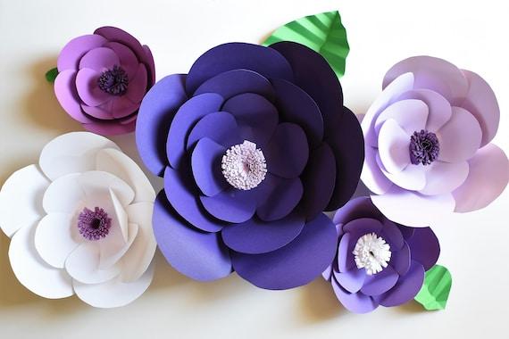 Purple paper flower backdrop wall flowers like this item mightylinksfo