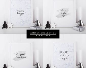 Quote Prints - Inspirational Quote Print - Set of 4 Prints - Typography Print - Housewarming Gift- Marble Print - Marble Wall Art - Wall Art