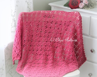 Bright Pink Lace Crochet Baby Blanket Pattern, Baby Afghan Pattern, Easy Crochet Pattern