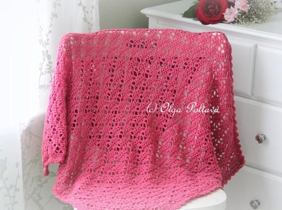 Bright pink lace crochet baby blanket pattern baby afghan pattern bright pink lace crochet baby blanket pattern baby afghan pattern easy crochet pattern from olgapoltava on etsy studio dt1010fo