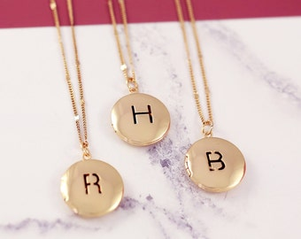Sister Necklace Set | Initial Locket | Three BFF Necklace | Personalized Locket | Friendship Necklaces | Picture Locket | Letter Necklace |G