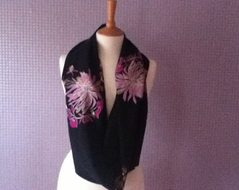 Vintage black & floral print lightweight snood or scarf