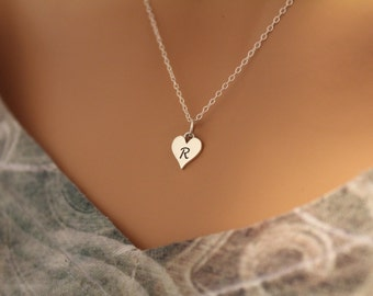 Sterling Silver R Letter Heart Necklace, Silver Tiny Stamped R Initial Heart Necklace, Stamped R Letter Charm Necklace, R Initial Necklace