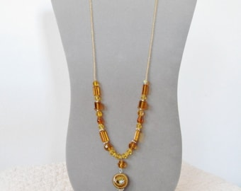 "Bohemian Necklace with Seed Beads, Beaded Long Necklace, 24.5"" to 26.5"" SALE"