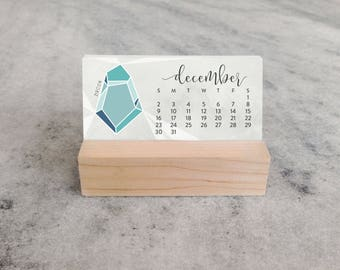 2018 Mini Desk Calendar with Wood Stand, Birthstones, Monthly Calendar, stocking stuffer, illustrated gemstones