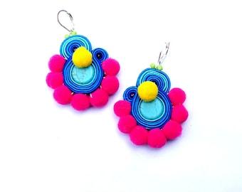 Colorful Pom Pom Earrings, Boho Earrings, Dangle Earrings, Soutache Earrings, Pompom earrings, Colorful Boho Jewelry