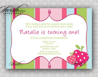 First Birthday invitation - Berry Sweet Strawberry Berries 5x7  Invite  - Printable Party -Digital