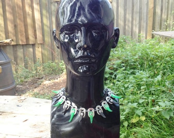Pull Tab Necklace with Green and Black Plastic - Riveted, Recycled, Eco Friendly, UV Reactive, Hippy, Tribal, Club wear, Festival wear