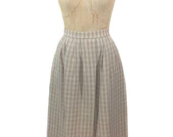 vintage 1960's Irish linen checkered skirt / beige mauve / plaid checked / Ireland / women's vintage skirt / size medium