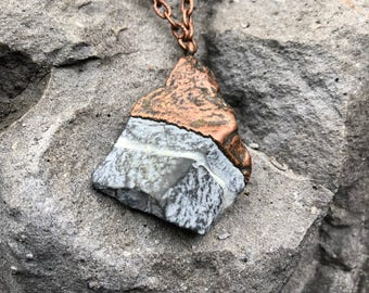 Nature Inspired Necklace | Long Boho Necklace | Copper and Stone Necklace | Electroformed Copper Necklace | Christmas Gift | Electroformed