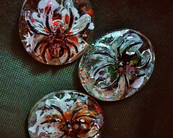 Magical Crystals in Resin Spider Worry Stones with Green Agates and Carnelians