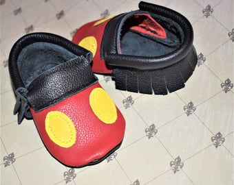 Mickey Moccasins, Black with Yellow & Red Baby Moccasins, Baby Moccasins, Mickey shoes, Baby booties, Leather Baby Moccasins, Baby Gifts