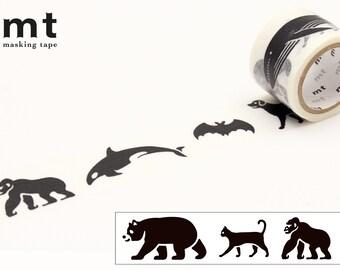 26mm width | MT Fab - Black Animals Silhouette Washi Masking Tape