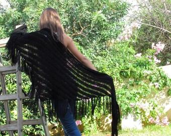 Mother's day gift BLACK SHAWL  Black Wraps Shawl  knitted shawl