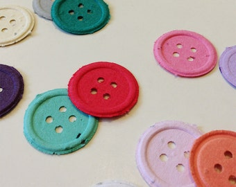 Plantable seed paper buttons - 25 plantable seed paper buttons - choose your color plantable button