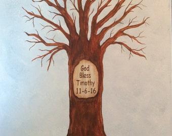 Christening Baptism Fingerprint Tree Thumb Print Guest Book for Shower finger print - CANVAS