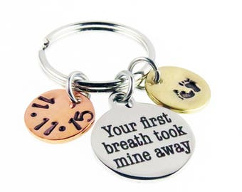 New Mother Hand Stamped Key Chain - Your First Breath - Custom Date Zipper Charm - Baby Feet Key Ring  Charm - expressions bracelets