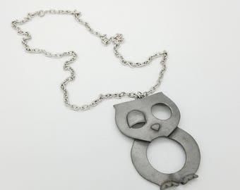 "1960's Pewter Gray Winking Owl Pendant  on 24"" Silver Tone Chain"