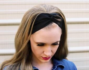 Solid Black Headband, Black Vintage Headband, Black Twist Headband, Solid Black Faux Headwraps For Women, Black Headwraps for Women