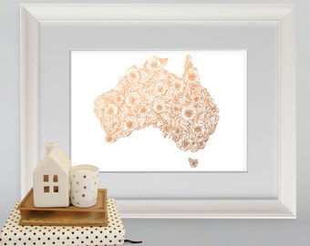 rose gold australia floral map map of australia australia print a4 print floral print nursery print copper print