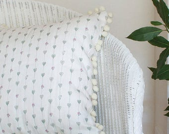 Sage Green Hearts and Roses Linen Union Cushion with Cream Pom Pom Trim