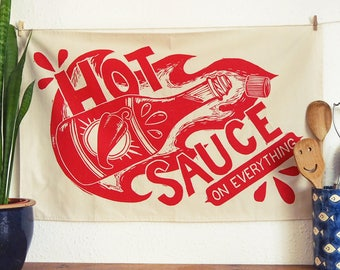 Hot Sauce Tea Towel - From Linocut, 100% Cotton Kitchen Towel, Chilli Lover Gift, Tea Towel, Funny Dish Towel, Mum Gift, Food Print