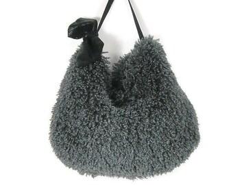 FREE SHIPPING/Sale Gray Faux Fur Hobo Bag Faux Fur Hobo Bags Grey Fur Shoulder Bag Vegan Fur Hobo Bag Faux Handbags Fur Crossbody Handbag