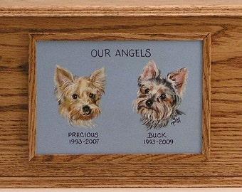 Pet Urn, Memorial Box (double sized),oak pet urn,cherry pet urn,hand paianted portrait on pet urn,
