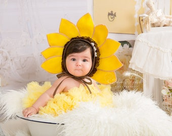 Sunflower Bonnet  Sunflower baby Hat Newborn Photo Prop Sunflower newborn bonnet Fall Photo PropYellow Flower Photography Prop  sc 1 st  Etsy & Sunflower bonnet | Etsy