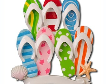 Personalized Family of 7 Flip Flop Ornament