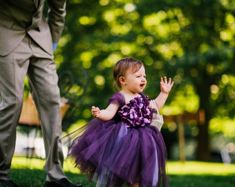 Flower girl dress Deep Purple and Lavender tutu dress, flower top, hydrangea top, toddler tutu dress
