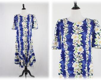 1980s Hawaiian Hibiscus Dress Flared Bottom by Royal Creations XL