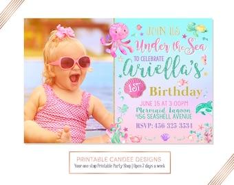Under the Sea Birthday Invitation, Ocean Birthday, Girl Under the Sea Invite, Beach Party, Summer Birthday, DIY Custom Printable