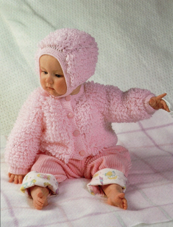 Baby Knitting Pattern Baby Loop Stitch Cardigan Bonnet Baby