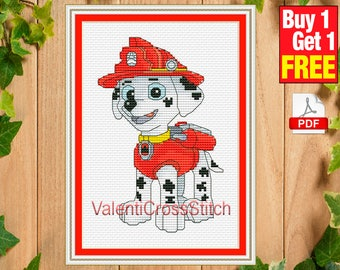 Cartoon Cross Stitch Pattern, Paw Patrol,Marshall, for baby, girls, boys, counted cross stitch pattern,  #sp 263