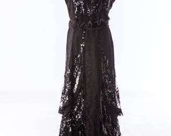 1900's turn of the century Beaded Black Vintage  Evening Gown