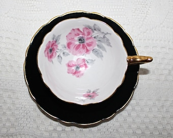 "Royal Stafford ""BLACK & PINK"" Widemouth Teacup and Saucer Pastel Pink Flowers Grey Leaves Gold Gilded Footed Base"