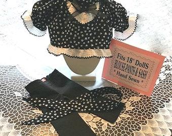 18' Doll BLOUSE PANTS W/SASH 3PC.Set Puppy Paws White/Black Dot fits American Girl