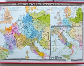 "German Vintage school Wall plan ""Europe in the time of the Otton and Salier"""