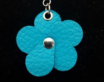 Peacock Planner Flower - Leather Jot Clip-on Planner Charm