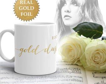 GOLD Dust Woman Mug Real Gold Foil, Stevie Nicks Gold Mug, Ceramic Gold White Mug Fleetwood Mac Coffee Mug Ceramic Mug Gifts for Her Wedding