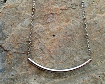 Silver Tube Necklace _ Curved Bar Necklace on Beaded Silver Chain - Bohemian Layering Necklace