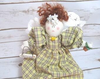 Primitive Angel Doll - Folk Art Angel - Cloth Angel Doll - Handmade Angel Doll - Angel Decor - Angel Shelf Sitter - Gift for Mom - OOAK