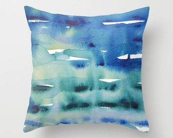 Watercolor pillow, blue throw pillow cover, turquoise art pillow, abstract art pillow, art decor cushion, artist gift pillow arty home decor